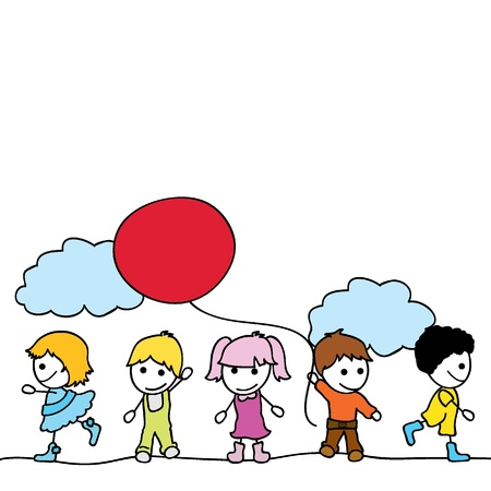 hyper: happy little children background with clouds and balloons Illustration