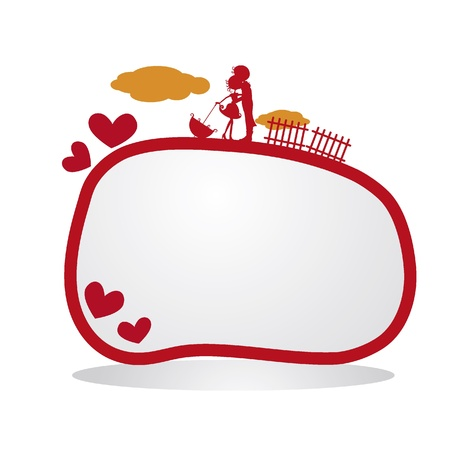 silhouettes couples with hearts, clouds and fence background Stock Vector - 17545484