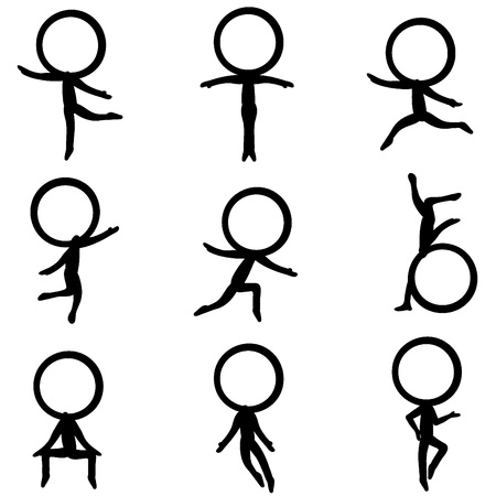 squat: nine six figure character with different poses Illustration