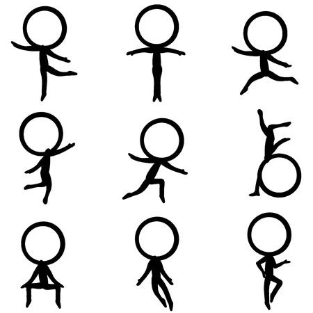 sentarse: nueve seis caracteres figura con diferentes poses