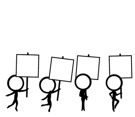 draw a sketch: four simple stick figure character with signboard Illustration