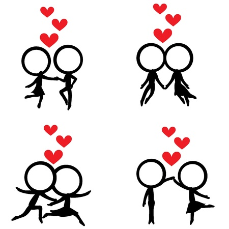 four stick figure couples with hovered red hearts  Vector