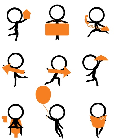washroom: nine stick figure holding different items for websites and others Illustration