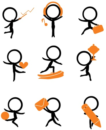 nine stick figure holding different items for websites and others Vector