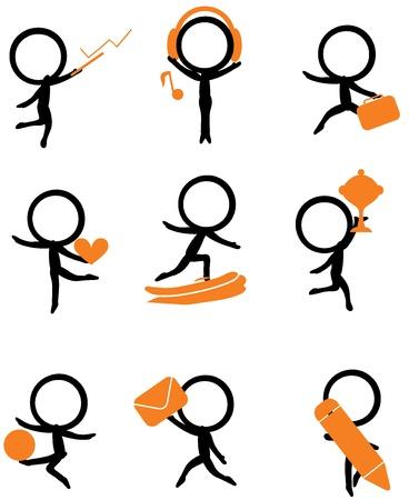 chica surf: nueve stick figure la celebraci�n de diversos art�culos para los sitios web y otros Vectores