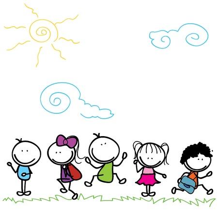 gelukkig kinderen doodle naar school te gaan buiten