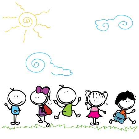 children party: happy kids doodle going to school outdoor Illustration