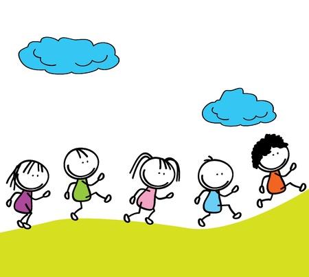 happy kids doodle going to school outdoor Иллюстрация