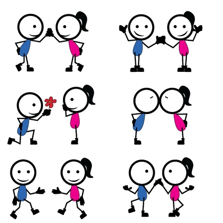 clip art draw: stick figure lovers with different pose