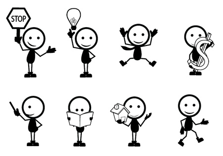 stick figure people with different sign and pose