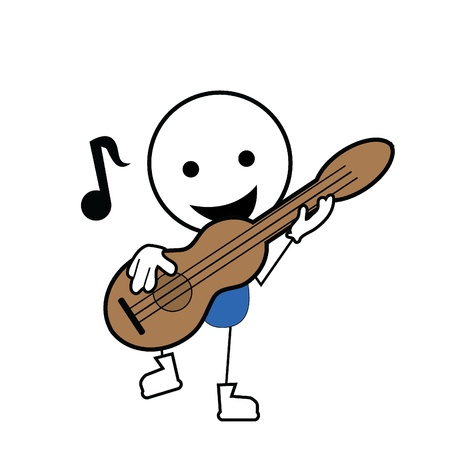 guitar illustration: stick figure playing guitar and an icon music note Illustration