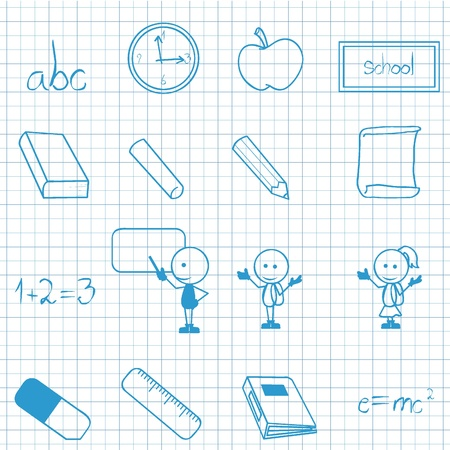 cute blue school icons for education, kids and activities Vector