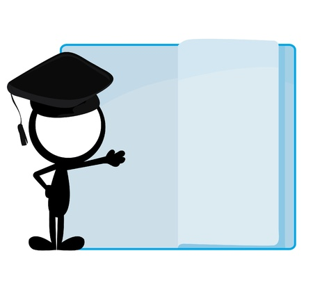 stick man graduation and flip page book background Vector