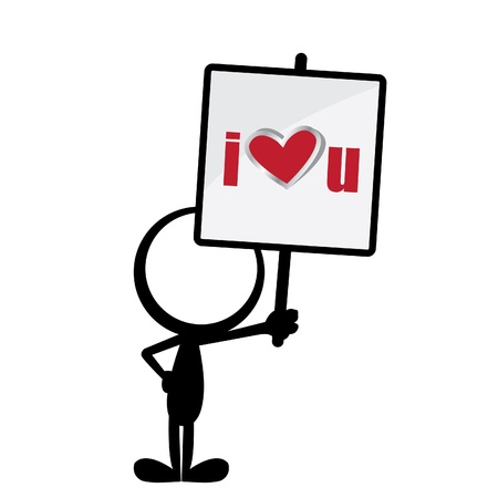 stick man holding with a I love u signboard Stock Vector - 19663943