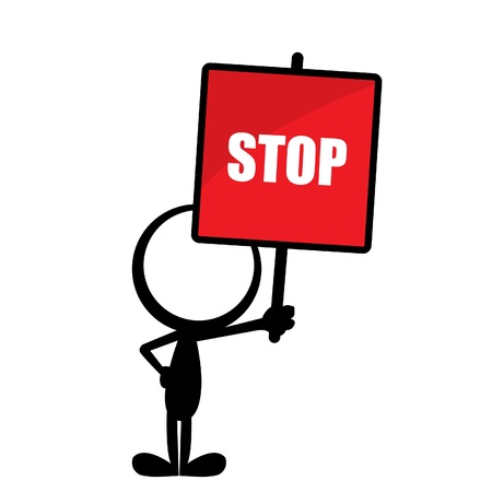 stop hand: simple stick man with a red stop sign