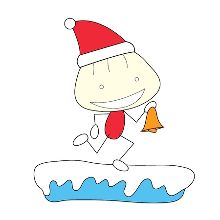 christmas stick figure running on snow with a bell Stock Vector - 20170956