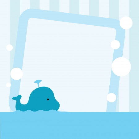 sea background with cute cartoon whale and bubbles Banco de Imagens - 20170964