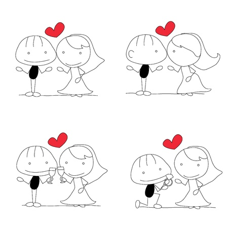 cute couple: nine cute stick figure man active poses Illustration