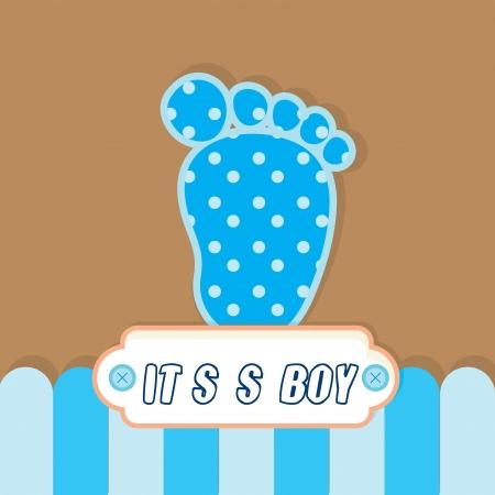 pie bebe: muchacho lindo beb� blanco como tarjeta de felicitaci�n y contexto Vectores