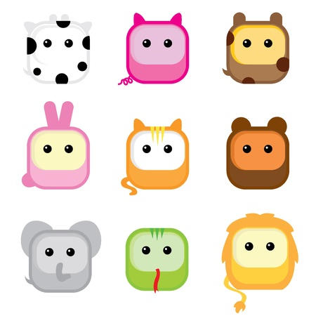 nine cute colorful isolated square animal icons  Vector