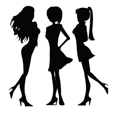 lady silhouette: three isolated silhouettes ladies with pose Illustration