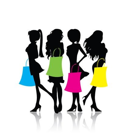 menina: quatro meninas isoladas silhueta compras com sacolas de compras