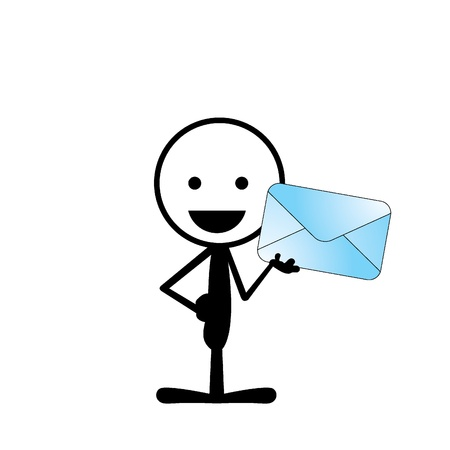 simple smiling stickman holding a big blue mail Stock Vector - 21410475