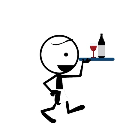 wine and dine: stickman serving wine bottle and glass on a tray