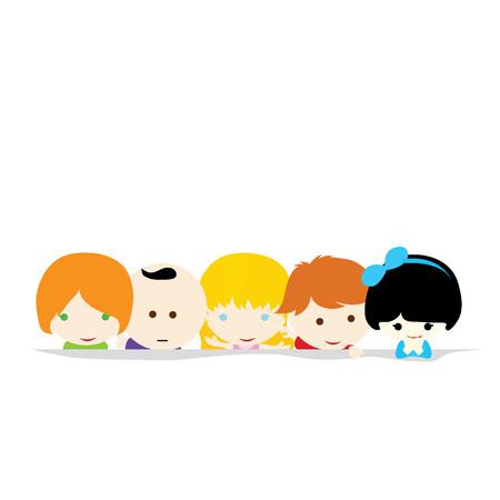 hyper: Five little cute children with white background
