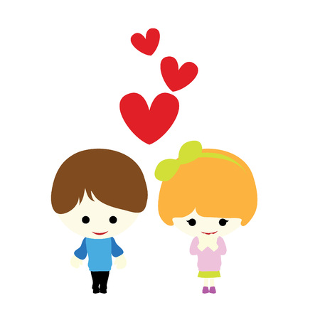 hyper: little cute couple with three hearts hovering above Illustration