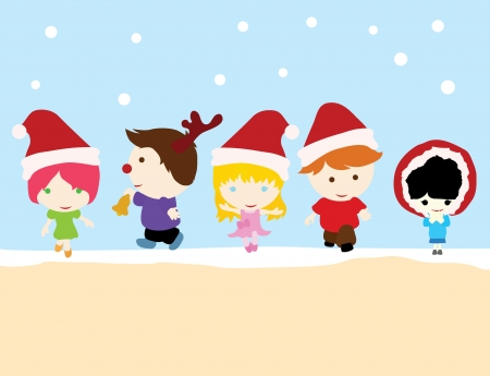 Five little children with white background playing Vector
