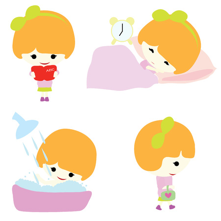 showering: Girl with activity such as reading, sleeping, showering, and walking Illustration