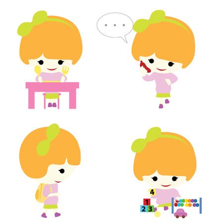telefono caricatura: Chica con la actividad, como comer, conversar, la escolarización y jugar