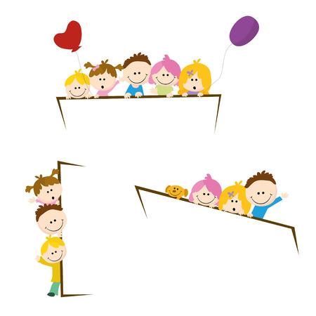 puppy love: felices los niños de dibujos animados con la señal en blanco Vectores