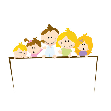 five people: cute simple family cartoons of five people