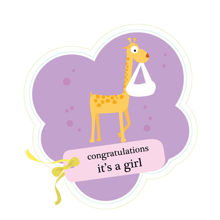 baby announcement card: cute baby announcement card with animal Illustration