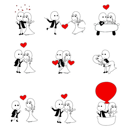 happy and simple cute stick figure couples  Illustration