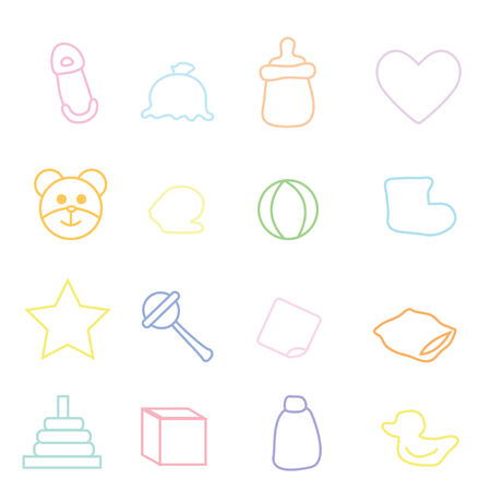 hankerchief: twelve cute simple line baby icons with white background Illustration