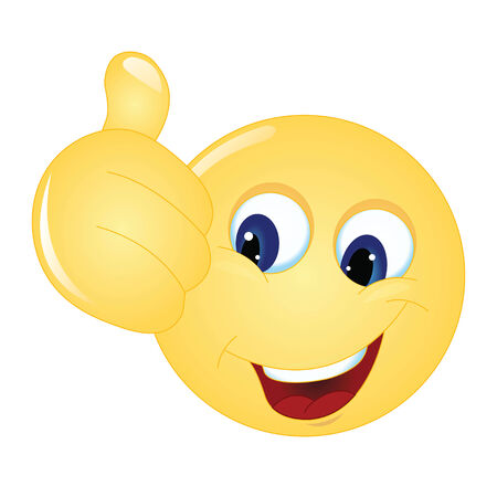 feeling up: emoticon thumps up showing positive mood