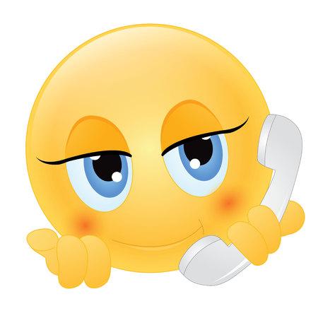 携帯電話で話している絵文字  イラスト・ベクター素材