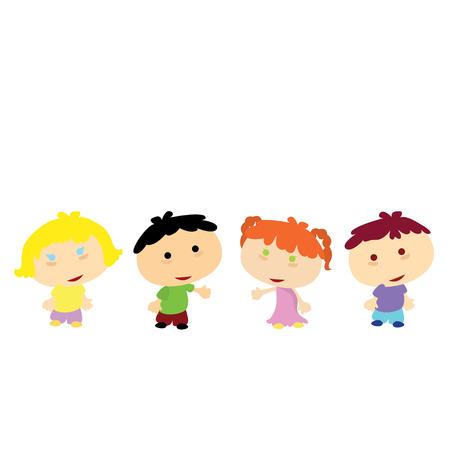 niños haciendo cola