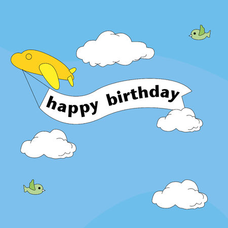 happy birthday with plane and skies Vector