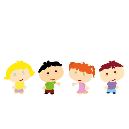 lining up: four little children lining up with white background Illustration