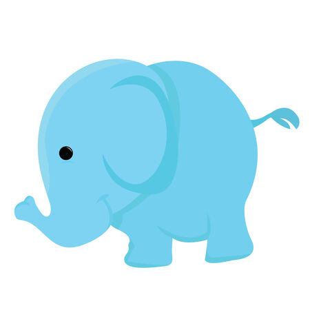 blue little elephant with white background Vector