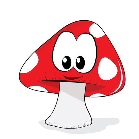 mushroom cartoon character with a smile Vector