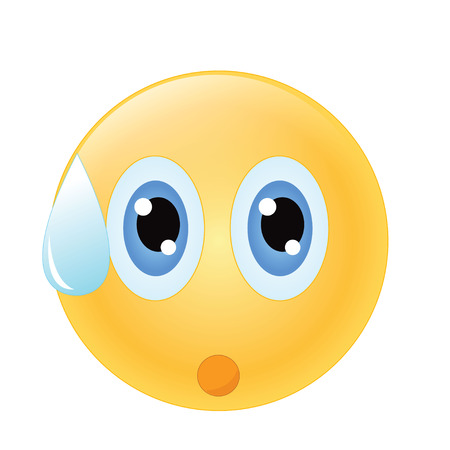 emoticon with sweat drop and shock emotion