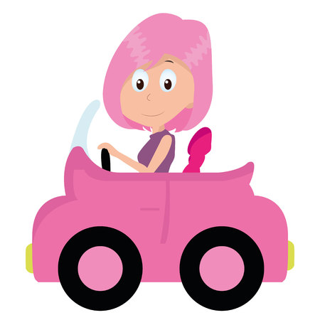 girl driving a cute little pink car Vector