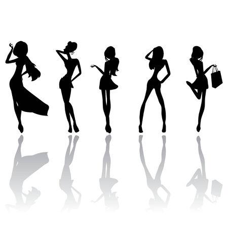 futuristic girl: girls silhouettes Illustration