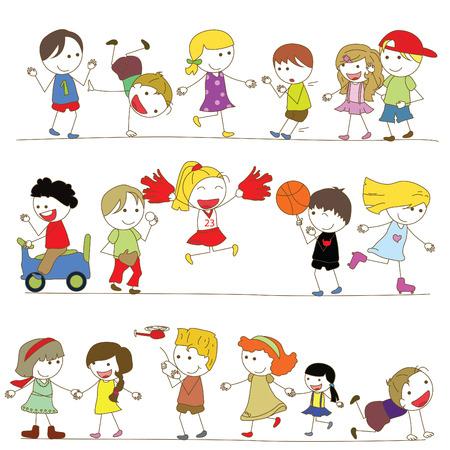 stick children: set of kids cartoon Illustration
