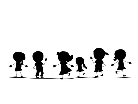 stick children: simple walking silhouettes kids in one line Illustration
